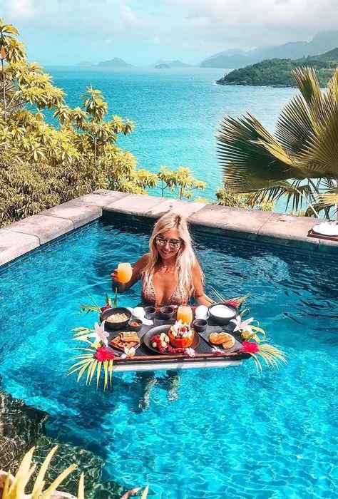 best honeymoon destinations breakfast in pool miss.everywhere