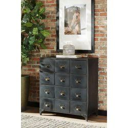 Luis 12 Drawer Accent Chest Metal Storage Cabinets Double Dresser