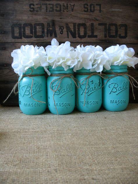 Super cute painted mason jars.