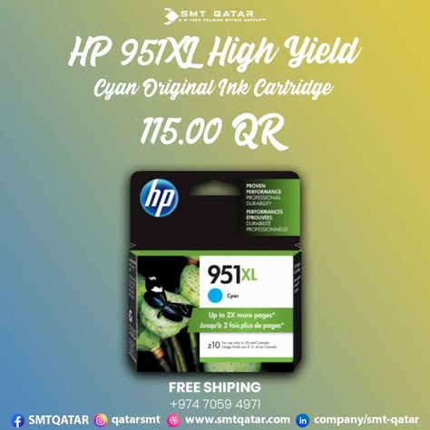 HP 951XL High Yield Cyan Original Ink Cartridge with free shipping all over Qatar.
