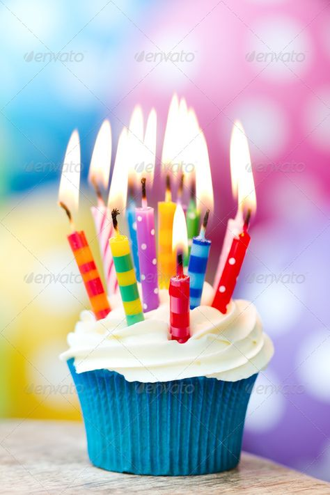 Birthday cupcake by RuthBlack. Cupcake decorated with colorful birthday candles#RuthBlack, #Cupcake, #Birthday, #cupcake