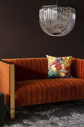 Remarkable Retro 50S Style Burnt Orange Velvet Sofa With Gold Trim In Squirreltailoven Fun Painted Chair Ideas Images Squirreltailovenorg