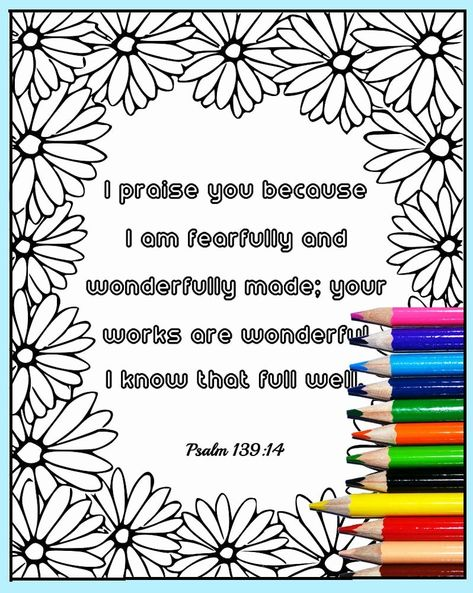 32 Psalm 139 Coloring Page In 2020 Psalm 139 Bible Verse