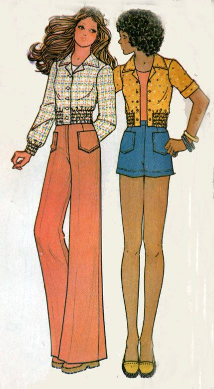 1970/'s Hand Drawn /& Colored Fashion Drawing w Fabric Swatch Front and Back View