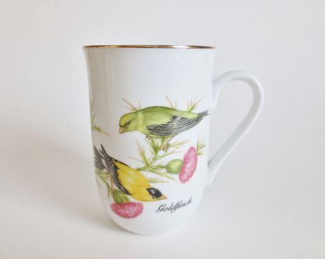 Vintage Goldfinch Bird Mug, 1985 John James Audubon Porcelains Mug, Song Bird Mugs Audubon Bird Society, Made in Japan by OtterValleyVintage on Etsy
