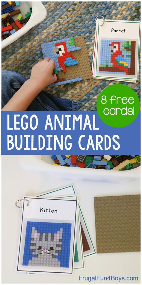 LEGO Animal Mosaic Building Cards - Frugal Fun For Boys and Girls LEGO Animal M . LEGO Animal Mosaic Building Cards - economical fun for boys and girls . Lego Activities, Craft Activities For Kids, Projects For Kids, Preschool Activities, Lego Girls, Lego For Kids, Fun For Kids, Legos, Lego Challenge