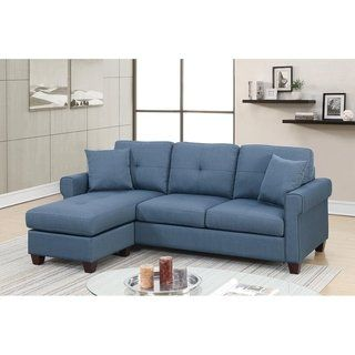 Bobkona Ira Glossy Polyfiber Reversible Sectional Sofa With 2