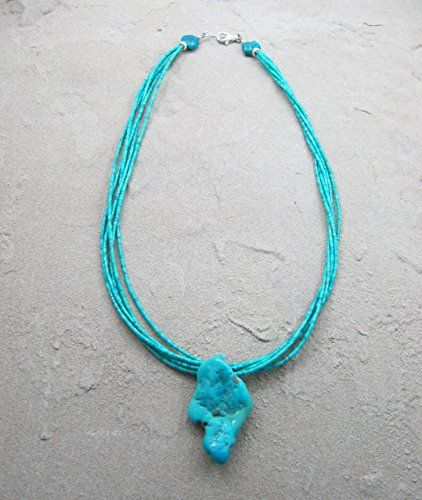 Native American Indian Jewelry Hand Strung Turquoise Nugget Necklace Louise Joe