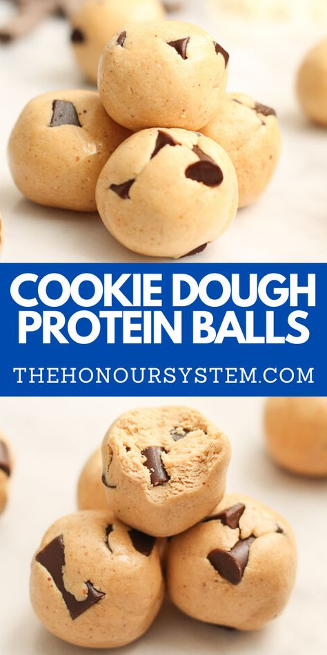Cookie Dough Protein Balls - the classic flavour packed with protein and ready in 15 minutes! This high protein balls recipe is also gluten free. Protein Powder Cookies, Protein Powder Pancakes, Vegan Protein Powder, Protein Powder Recipes, Chocolate Protein Powder, Protein Bites, Chocolate Chips, Protein Muffins, High Protein