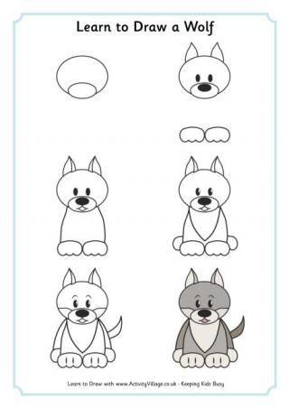 learn to draw a wolf dibujo pinterest draw animals learning and animal drawings - How To Draw Animals Step By Step For Kids Printable