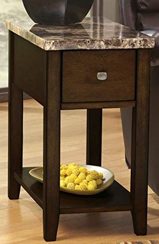 Chairside End Table Narrow With Drawer Chest Sofa Couchside Tv Coffee Accent Table Espresso Brown Wood End Tables End Tables End Tables With Drawers