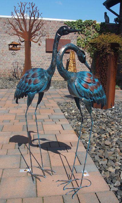 Vogelskulpturen Kraniche Metallskulpturen In Bronze Kupfer Design Metallskulpturen Gartendekoration Skulpturen
