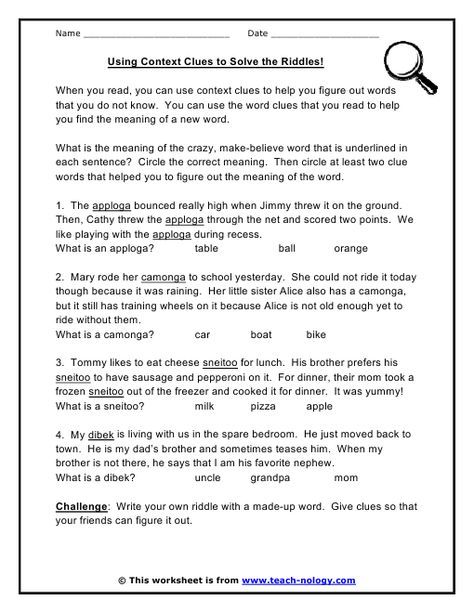 Using Context Clues To Solve The Riddles Context Clues Lesson Context Clues Worksheets Context Clues Context clues worksheets grade 4