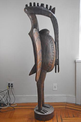 Large West African Senufo Hornbill Bird Statue Carved Solid Wood Bird Statues Solid Wood Carving