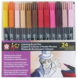 Koi Coloring Brush Pens 24 Color Set Multi Water Based Bold