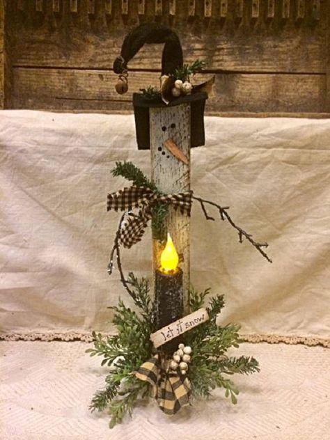 Primitive Christmas Snowman Timer Candle Unique Handmade