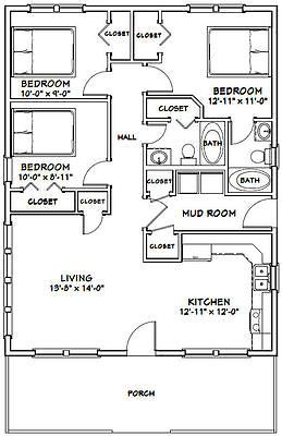 28x36 House 3 Bedroom 2 Bath 1 008 Sq Ft Pdf Floor Plan Model 1f Floor Plans Bedroom House Plans Bedroom Floor Plans