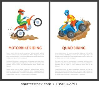 Motorbike Riding And Quad Biking Posters Man In Helmet Driving On