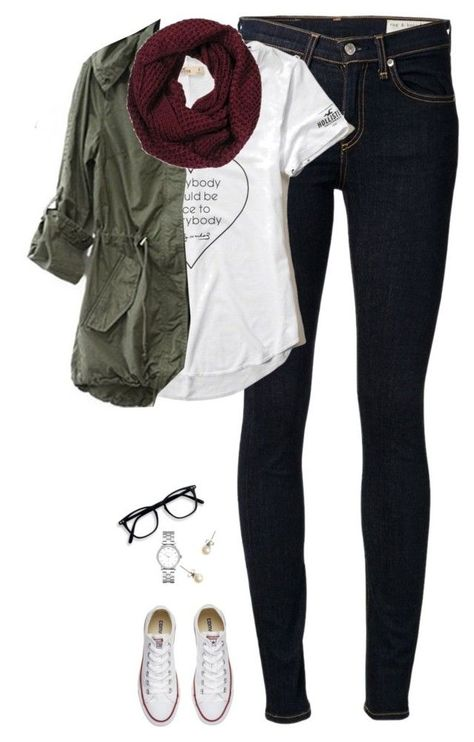 """""""Army green jacket, burgundy scarf & chucks"""" featuring rag & bone/JEAN, Hollister Co.Crew and Marc by Marc Jacobs Vetements Shoes, Mode Outfits, Fashion Outfits, Fashion Tips, Lookbook Mode, Looks Style, My Style, Burgundy Scarf, Mode Kpop"""