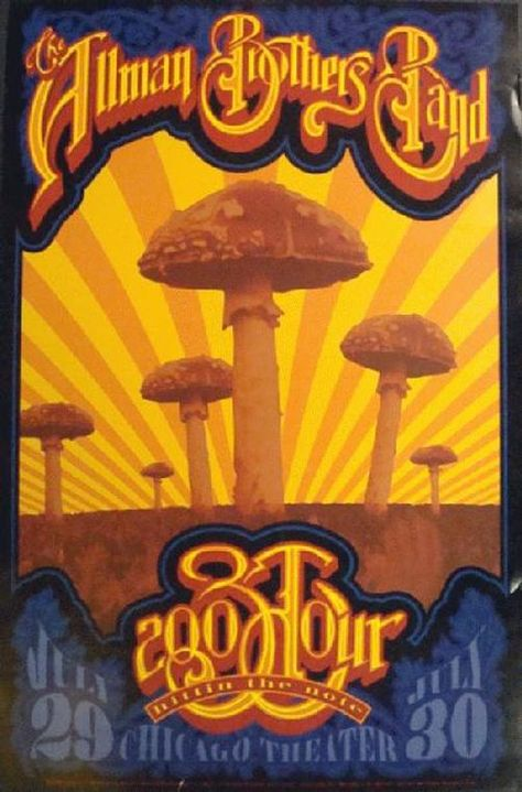 Original concert poster for The Allman Brothers in Chicago, IL in 2003. 13 x 19.5 inches on thin glossy paper. Tape pull on the back.