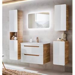 Bathroom Furniture Set 5 Pieces High Gloss White Incl 80 Cm