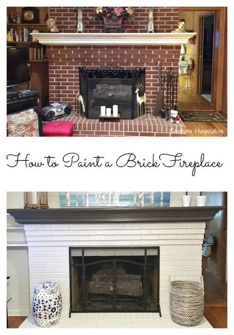 how to paint a brick fireplace #fireplace #fireplacemakeover #paintfireplace #paintbrick