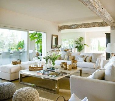 Modern Living Room With Linen Color Paint And White Leather Sofa Color Leather Linen Living Living Room Decor Apartment Living Decor Apartment Living Room