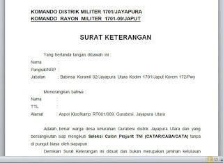 CONTOH SURAT KETERANGAN BABINSA - CABA TNI | KUMPULAN BERKAS PENTING | Surat