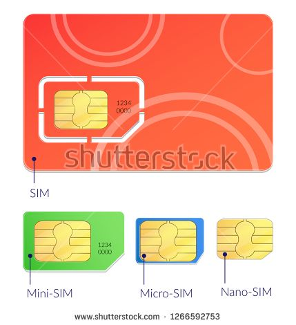 Stock Vector Realistic Sim Cards Icon Set With Different Types Mini Micro And Nano Sim Vector Illustration Icon Set Sim Cards Vector Illustration