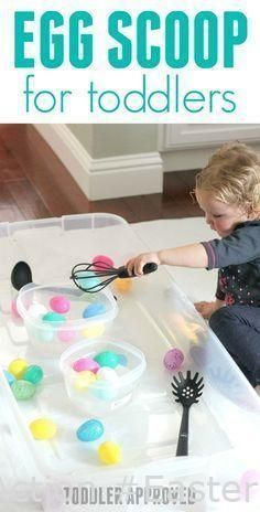 Easter Crafts  - Egg Scoop Easter Exercise for Toddlers – #activities #Exercise #Easter #Egg #Scoop – astonishing #arts and crafts for toddlers, #easter crafts diy, #easter diy crafts, #holidays crafts kids