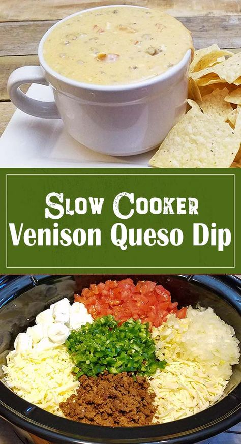 Enjoy this venison queso dip recipe right out of the slow cooker for warm, cheesy goodness in every bite. Venison Sausage Recipes, Ground Venison Recipes, Smoked Meat Recipes, Veggie Recipes, Appetizer Recipes, Deer Meat Recipes Ground, Deer Burger Recipes, Game Recipes, Veggie Food