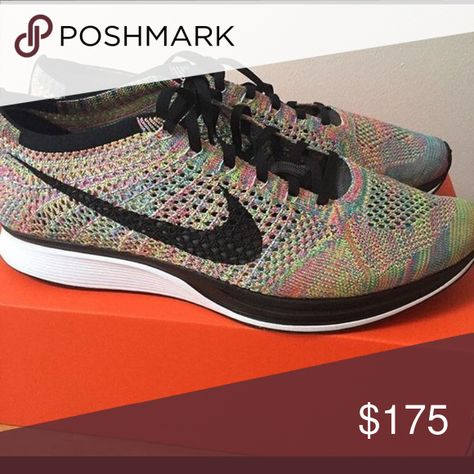 best website 44ec9 1e6d3 Nike flyknit racer rainbow size 7 mens Gently worn size 7 men s 8.5 9 womens  Nike Shoes Sneakers
