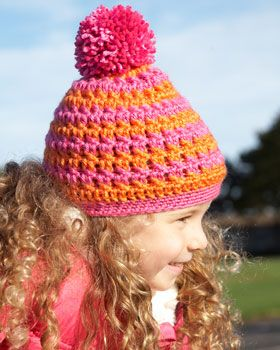 Add a pop of color to kids' winter wardrobes with this bright striped hat! Shown in Bernat Satin.