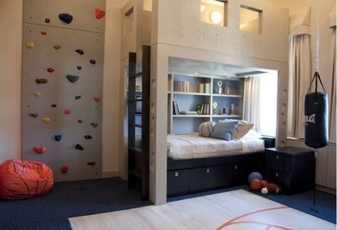 Interior, Designing Kids Sports Room for Your Active Children: Rock Climbing Wall For Sporty Boys Bedroom