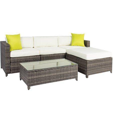 Incredible 5Pc Rattan Wicker Sofa Set Cushioned Sectional Outdoor Creativecarmelina Interior Chair Design Creativecarmelinacom