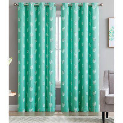 Ivy Bronx Brendle Geometric Blackout Thermal Grommet Curtain