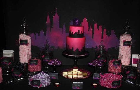 from Red Wagon Events: Perfect for SATC theme: New York silhouette backdrop