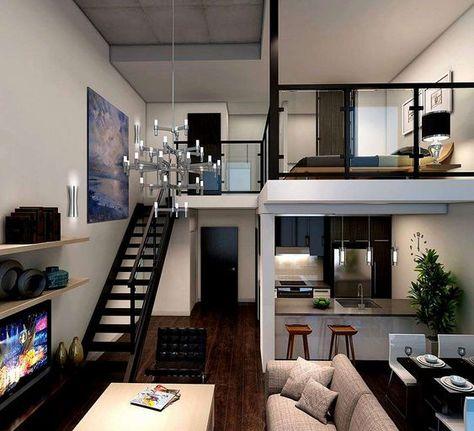 Loft House Design, Loft Interior Design, Small House Design, Home Room Design, Small Loft Apartments, Rental Apartments, Modern Loft Apartment, Small Apartment Interior, Modern Lofts