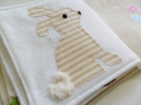 Quiet soft fabric baby activity book spring ducks bird owl bunny. $42.00, via Etsy.