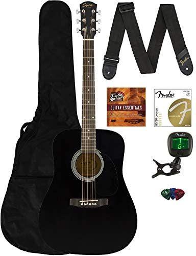 Fender Squier Dreadnought Acoustic Guitar Black Bundle With Gig Bag Tuner Strap Strings Picks Instructional Book And Austin Bazaar Instructional Dvd Guitar Acoustic Guitar Fender Squier