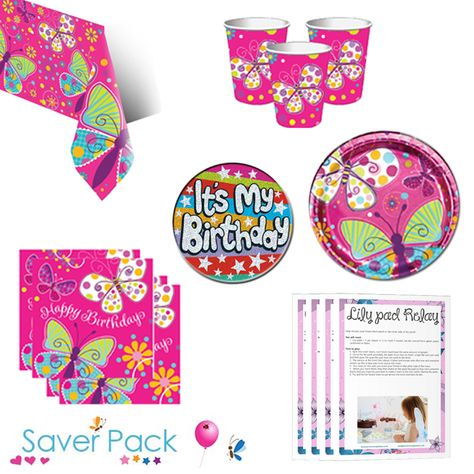 Butterfly Sparkle Party Tableware Saver Pack With A Free It S My Birthday Badge And Downloada With Images Childrens Party Supplies Butterfly Party Supplies Butterfly Party