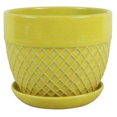 7 5 In Dia Yellow Ceramic Acorn Bell Pot Yellow Ceramics Planters Ceramics