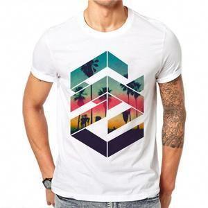Men/'s Tee Crew Neck Tops Beachwear T shirt Summer T-Shirt Casual Short Sleeve