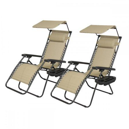 New 2 Pcs Zero Gravity Chair Lounge Patio Chairs With Canopy Cup Holder Walmart Com Zero Gravity Chair Patio Chairs Outdoor Recliner