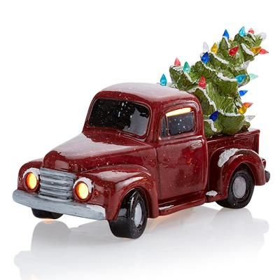 5312 Vintage Truck With Tree W Light Kit Ceramic Christmas