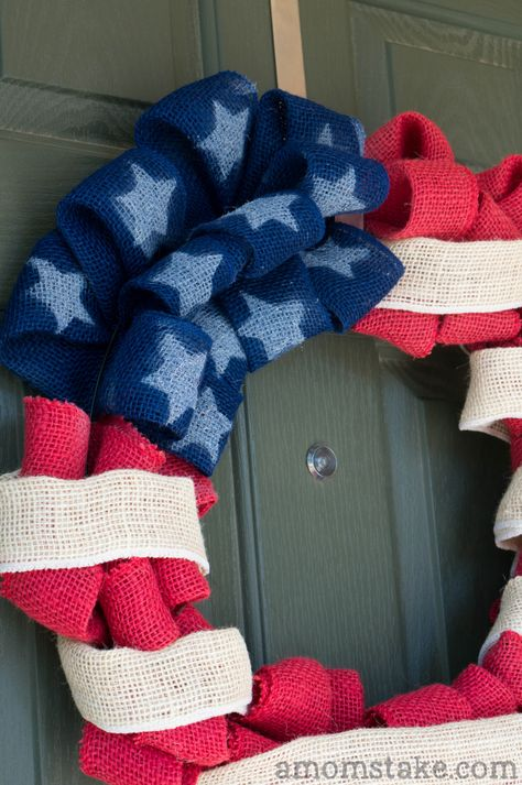 4th of July Patriotic Flag Wreath Tutorial - A Mom's Take