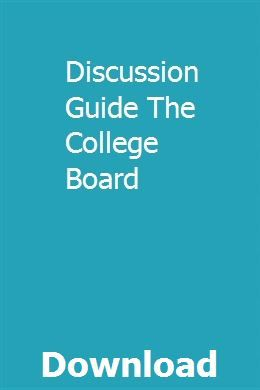 Discussion Guide The College Board Discussion Guide Owners Manuals Chemistry Class 11