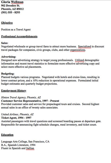 Travel Agent Resume Example - http\/\/resumesdesign\/travel - front desk agent resume