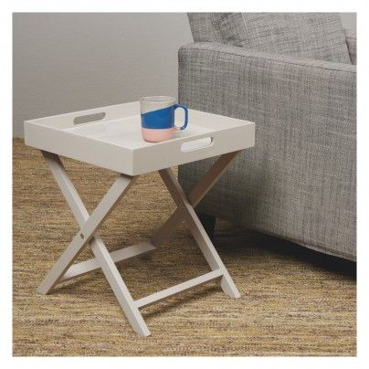 Oken Grey Folding Side Table With Removable Tray Top Small Glass Side Table Grey Side Table Narrow Side Table