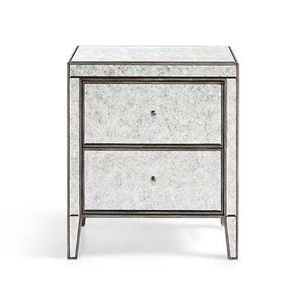 Reese 2 Drawer Nightstand In Antique Mirrored Nightstand Unique